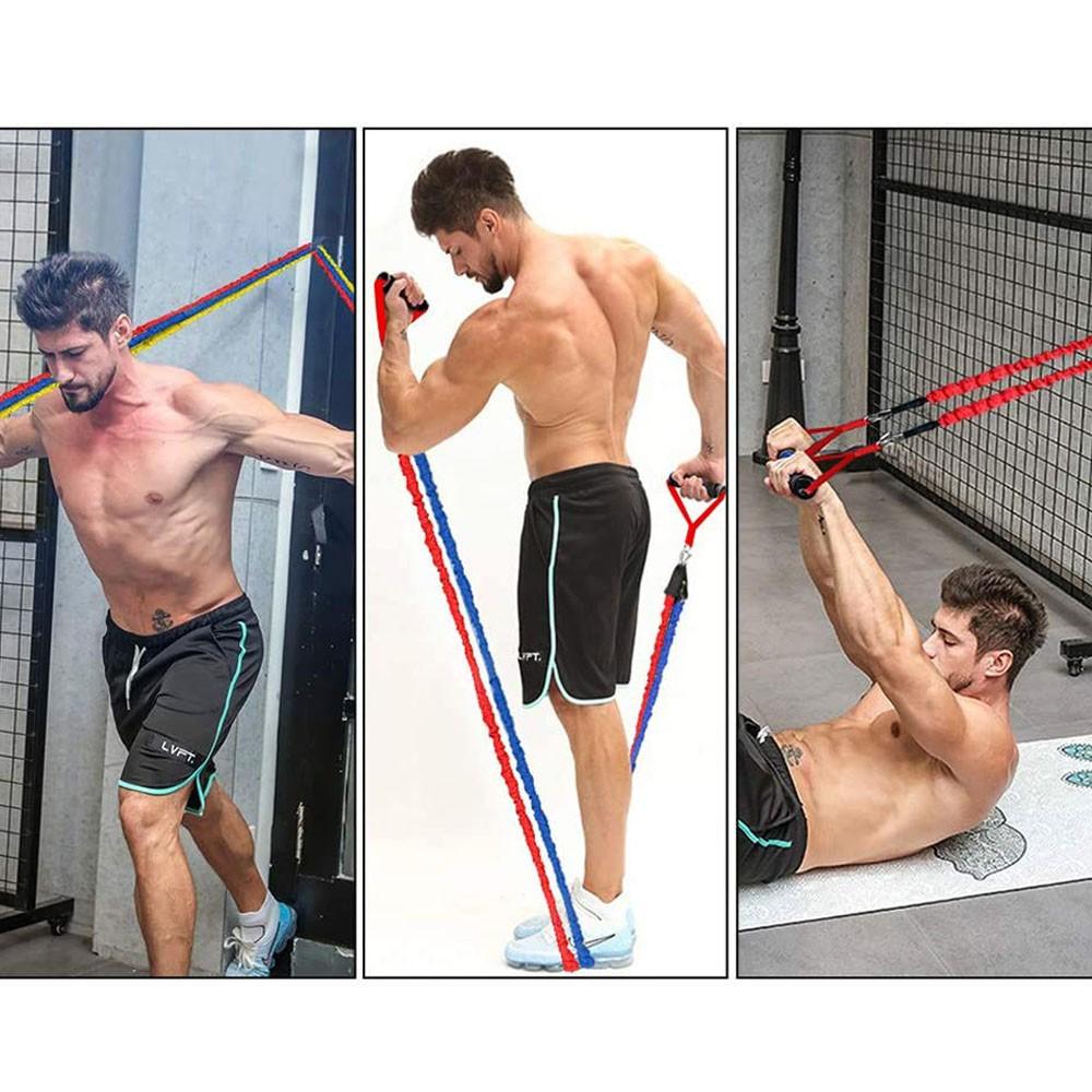 Kit 5 Elasticos Extensores Revestidos Exercicios em Casa Anti Estalo Academia Fitness Musculaçao