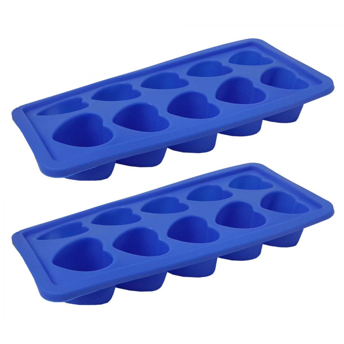 Kit Com 2 Formas De Gelo Em Silicone Para Cozinha Estilo Coração Azul (sili-19)