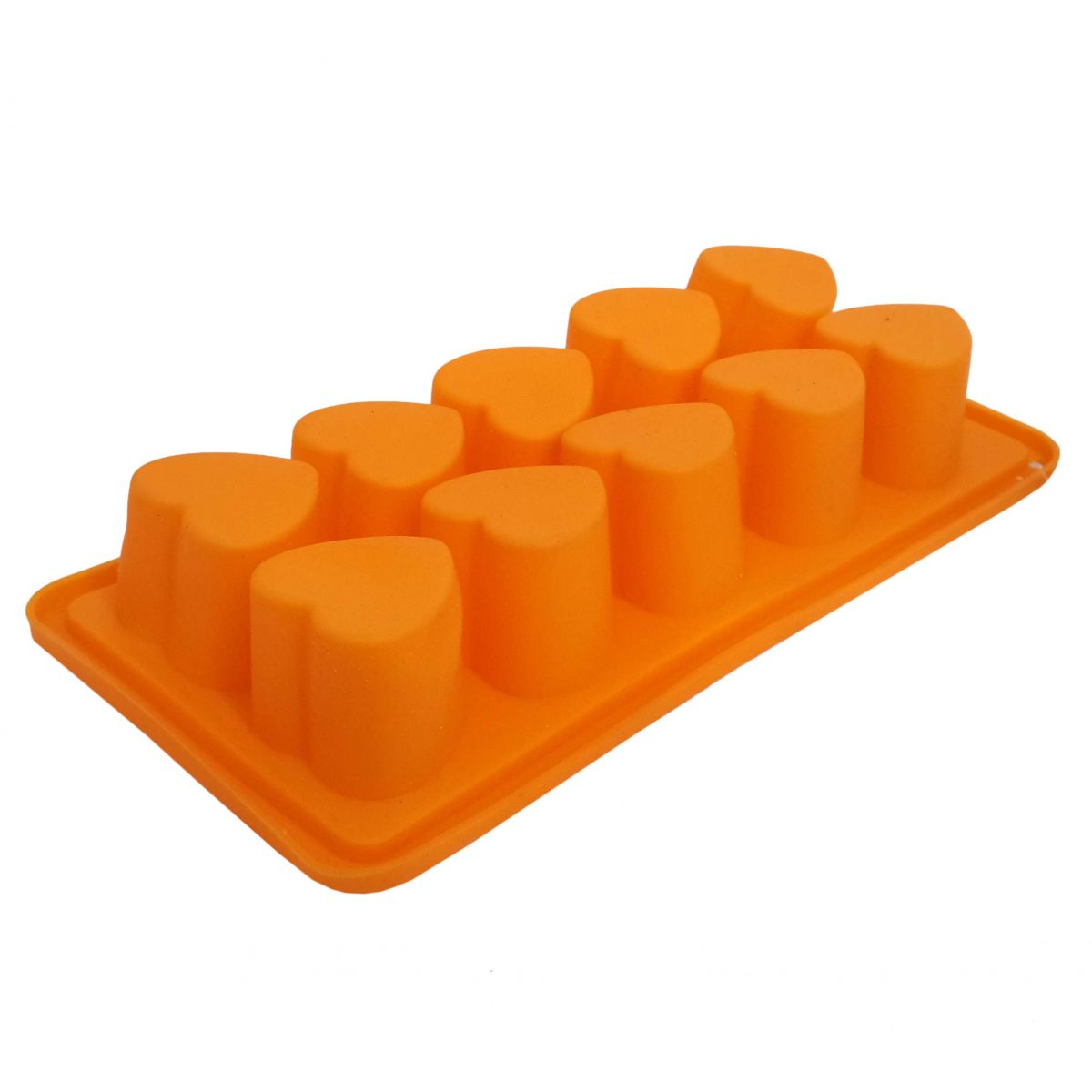 Kit Com 2 Formas De Gelo Em Silicone Para Cozinha Estilo Coração Laranja (sili-19)