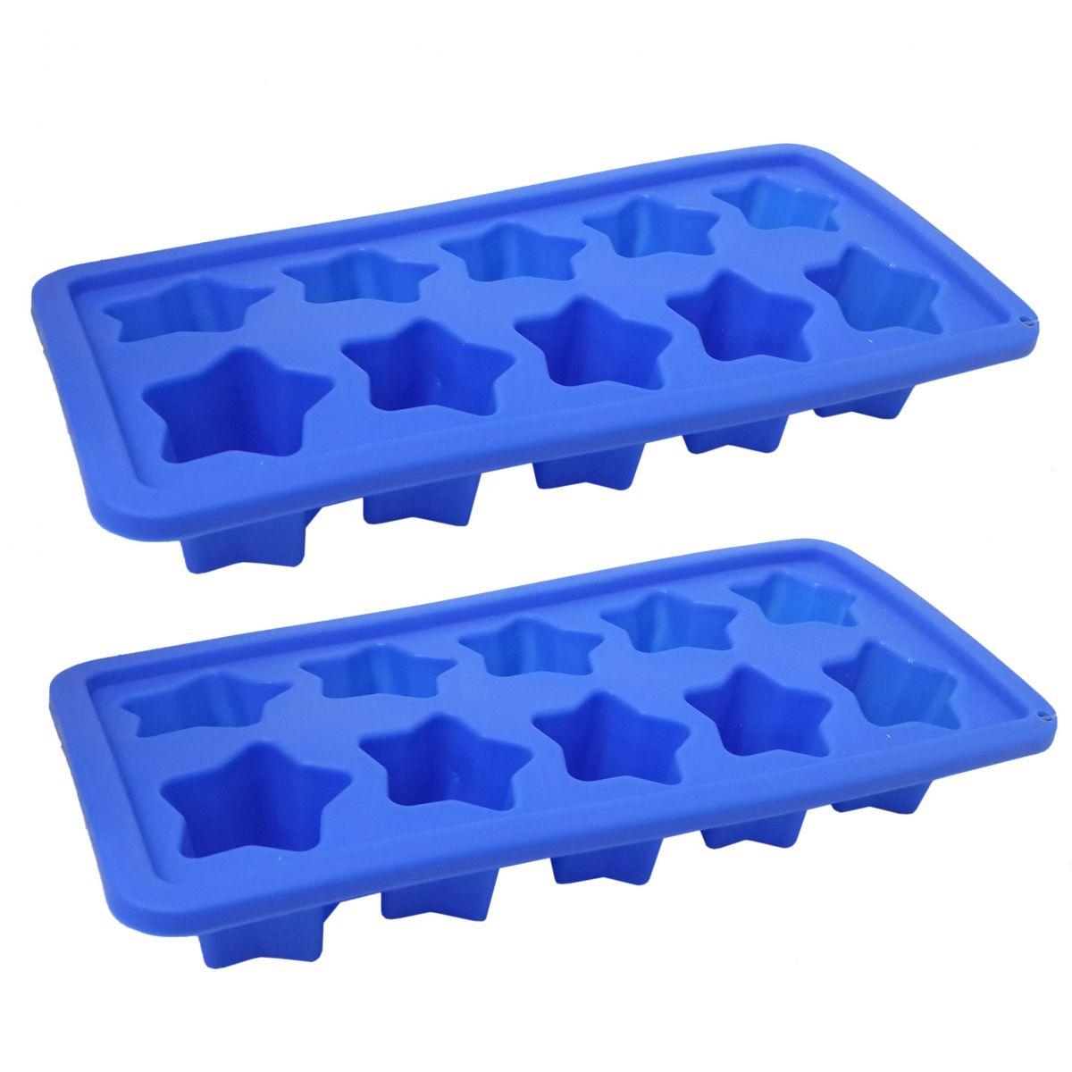 Kit Com 2 Formas De Gelo Estilo Estrela Para Cozinha Em Silicone Azul (sili-20)