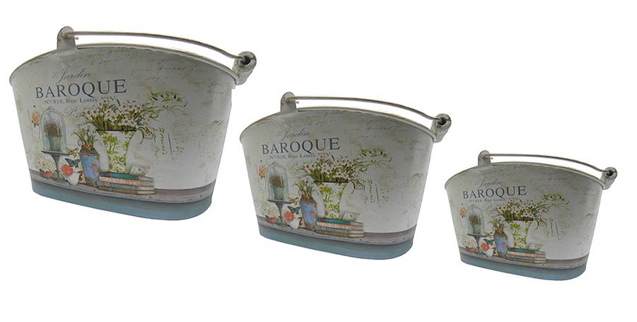 Kit com 3 Recipientes para Decoraçao Vaso para Flores Jois Bijuterias Baroque (DECOR-3)