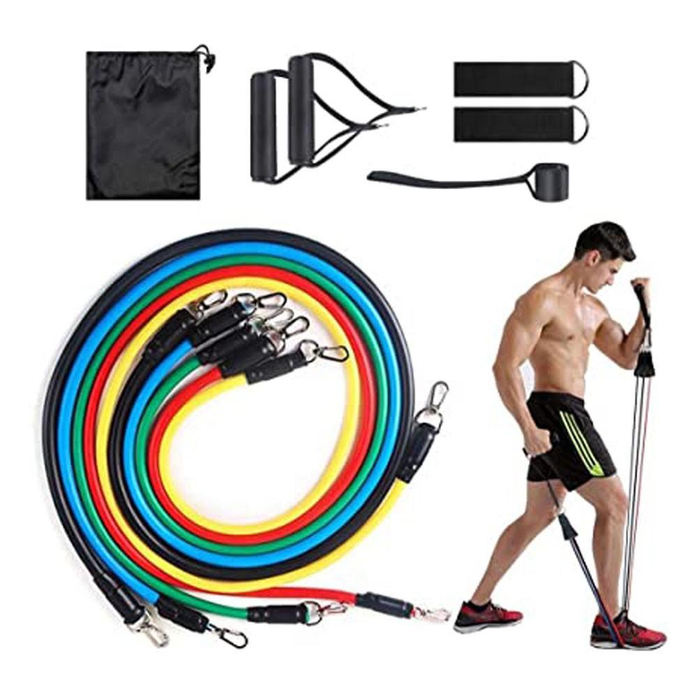 Kit Extensor 5 Elasticos Academia Exercicio em Casa 11 Peças Tonificaçao Pilates Abdominal Tubing