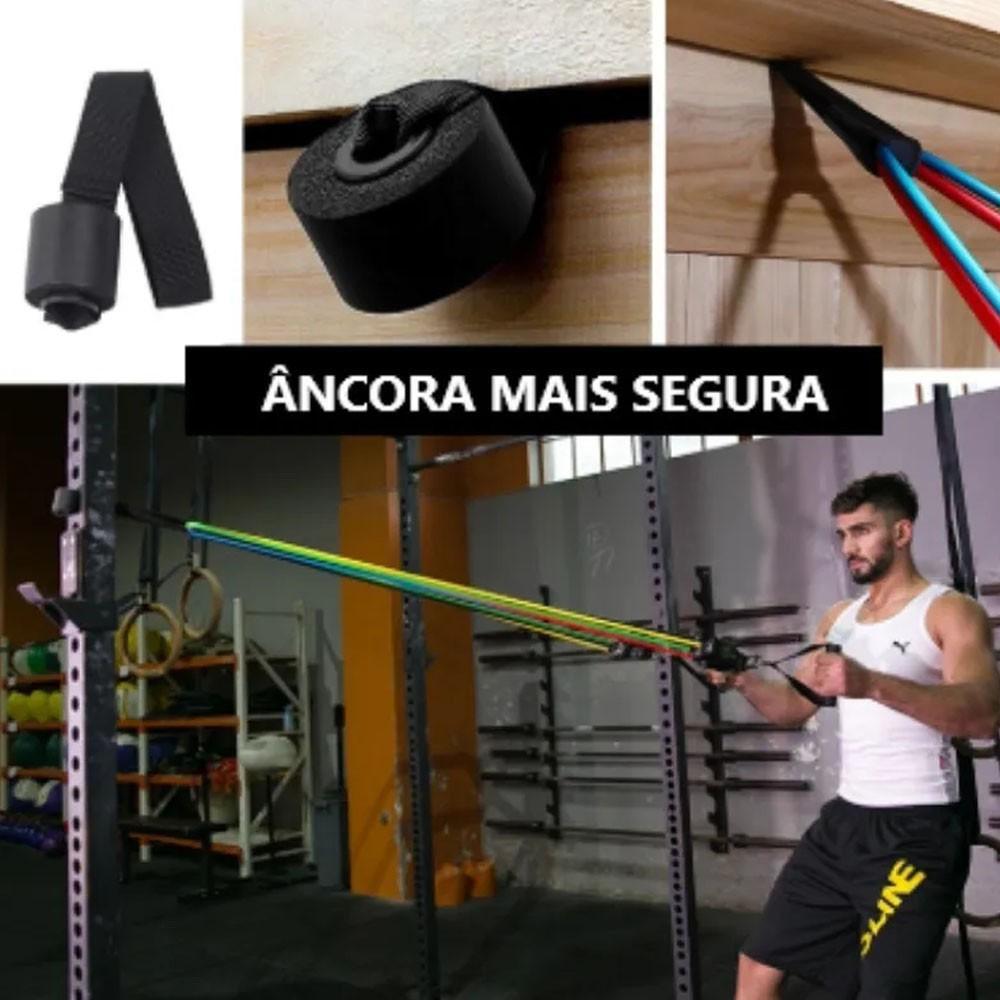 Kit Extensor 5 Elasticos Exercicio Academia Casa Tubing Abdominal Pilates Tonificaçao Musculaçao
