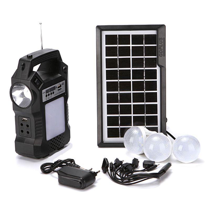Kit placa solar bateria l 3 lâmpada rádio fm central com anterna
