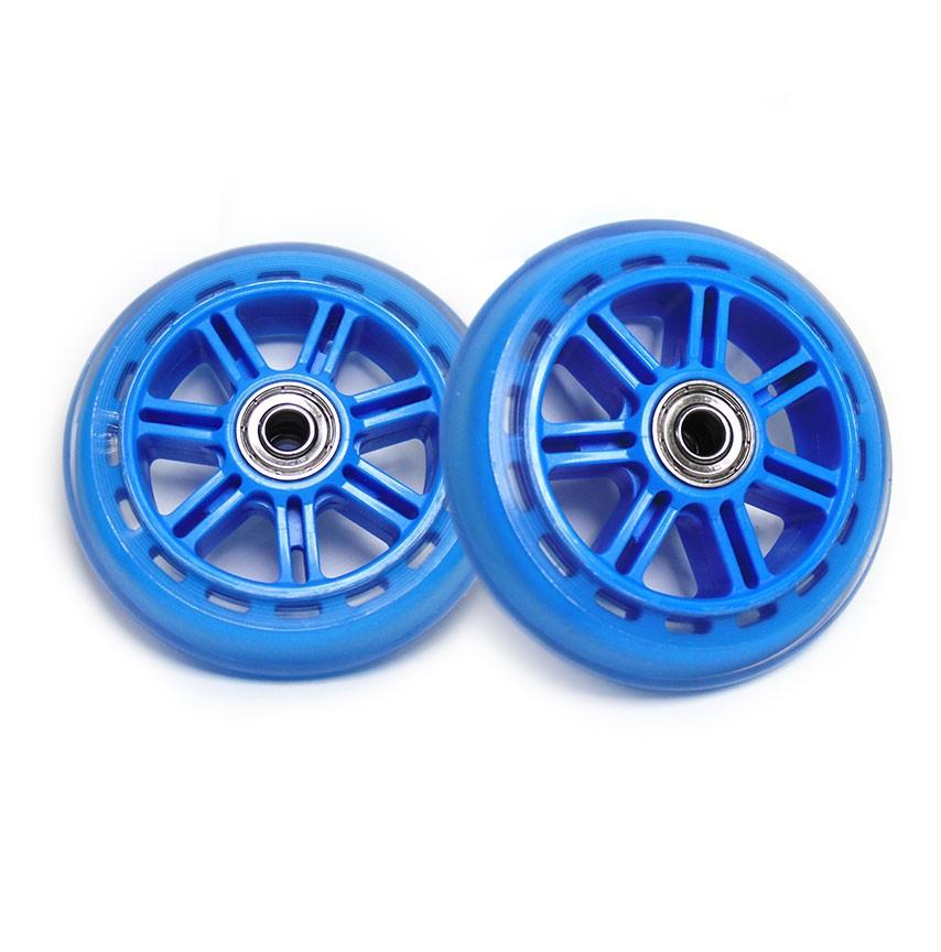 Kit Roda de Patinete 02 Rodinhas Patins Abec 7 Silicone Azul (RA-C)