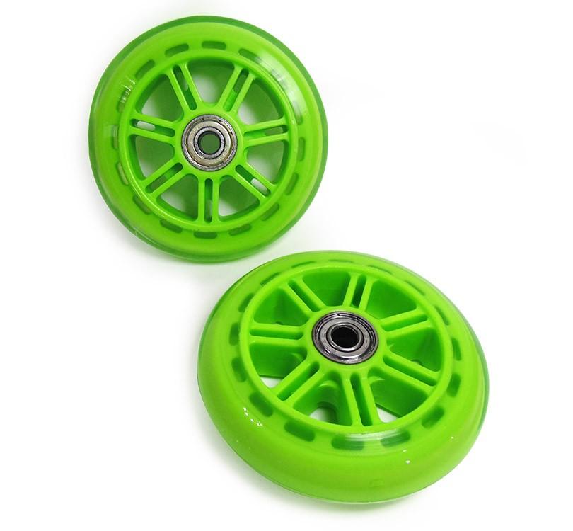 Kit Roda de Patinete 02 Rodinhas Patins Abec 7 Silicone Verde (RA-C)