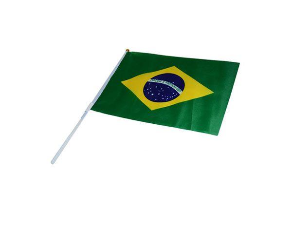 Kit Torcida Com 12 Bandeirinhas Mini Brasil Haste Torcer Jogo Copa (2014-53)  - BRASLU 17c07f227cd85