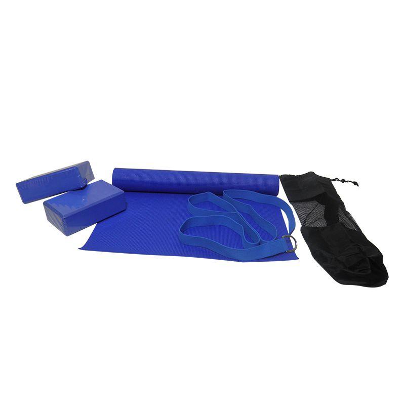 Kit Yoga e Pilates Blocos Esteira Tapete Bolsa Cinta Exercicio Azul