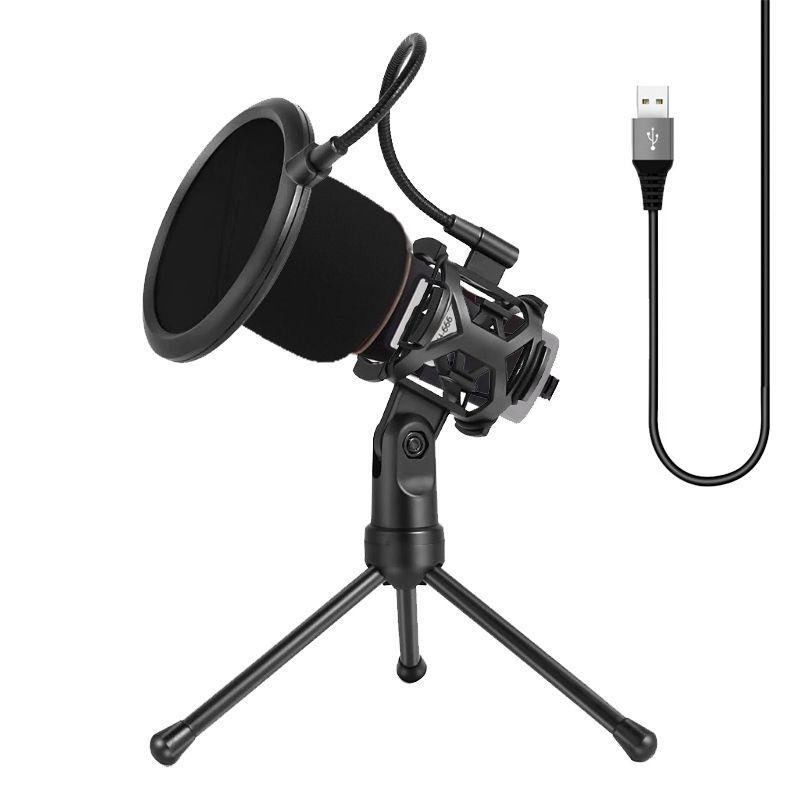 Kit Youtuber Microfone com Condensador Tripe Profissional Cantar Filtro Pop