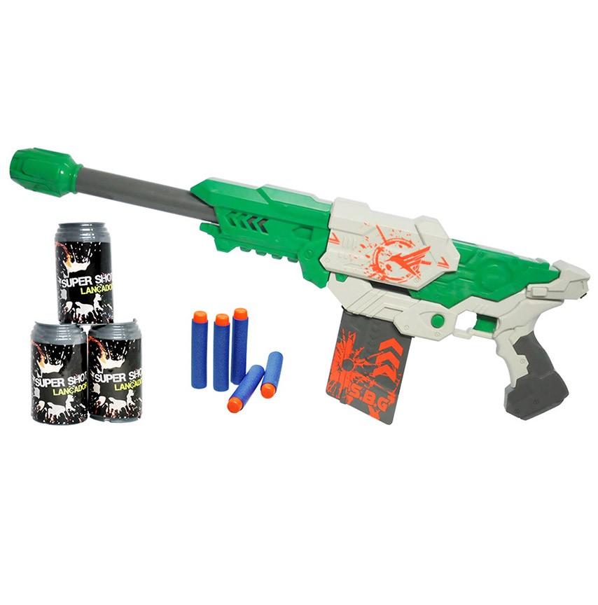 Lançador Super Shot Master Brinquedo 60cm Com 10 Dardos Verde (DMT5160)
