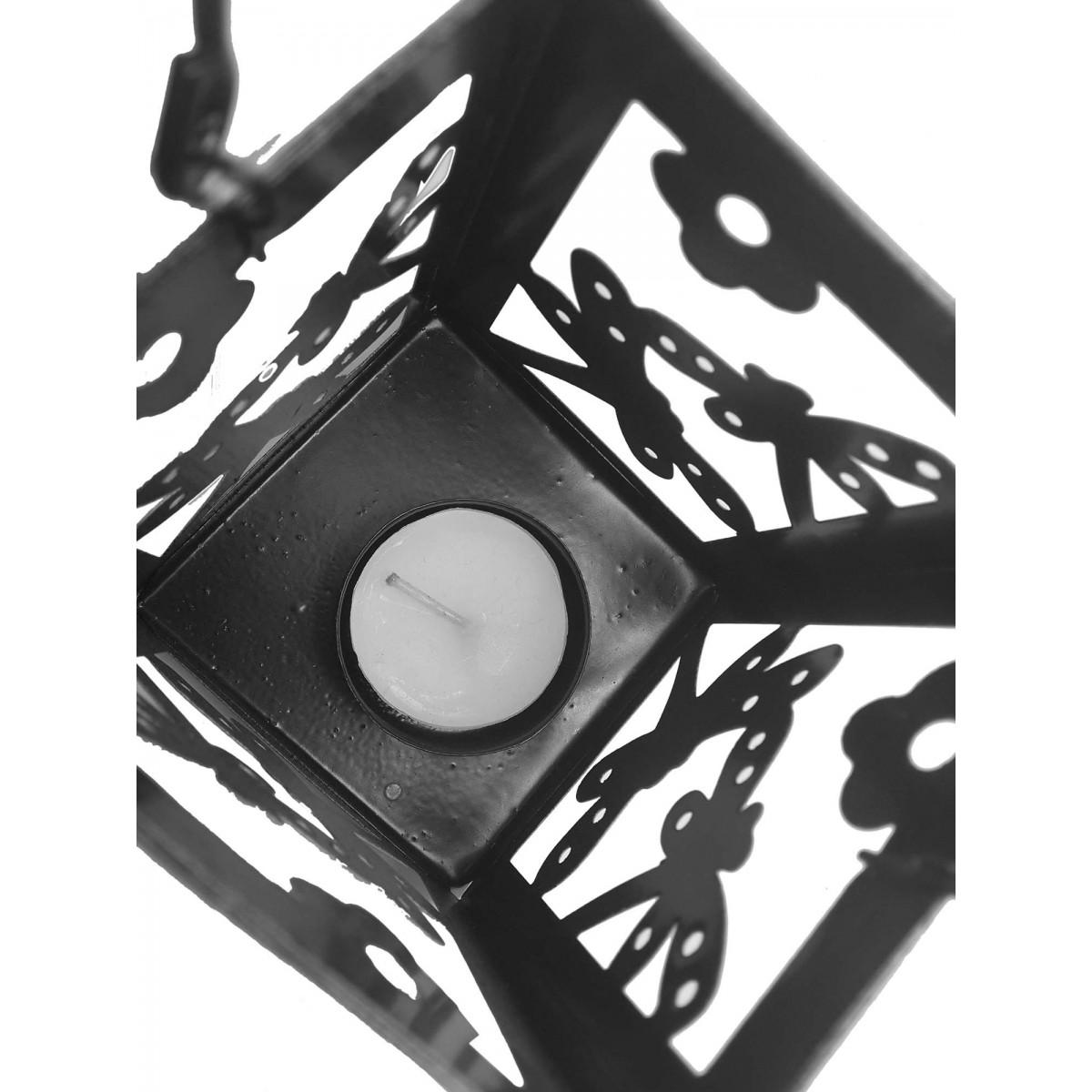 Lanterna Decorativa Porta Vela Enfeite Jardim Metal Lampiao Rosa 2 Unid (jard-75)