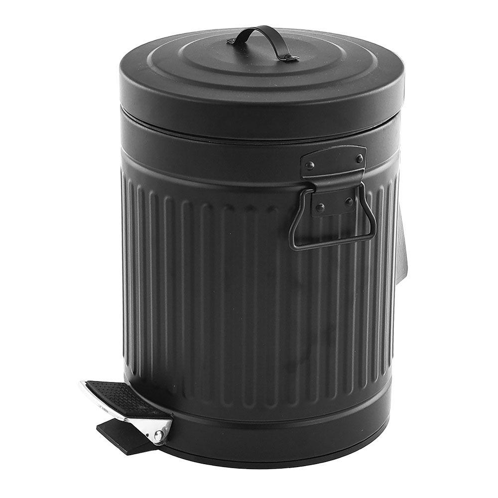 Lixeira Preta de Ferro Com Pedal Cesta de Lixo 5 Litros Casa