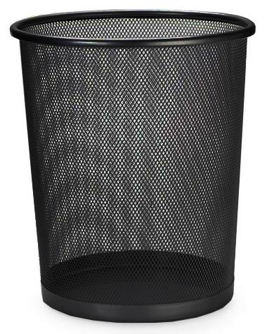 Lixeira Telada Redonda de Aço para Escritorio Cesto de Lixo Preta (23930-3 / bsl-34008-1)