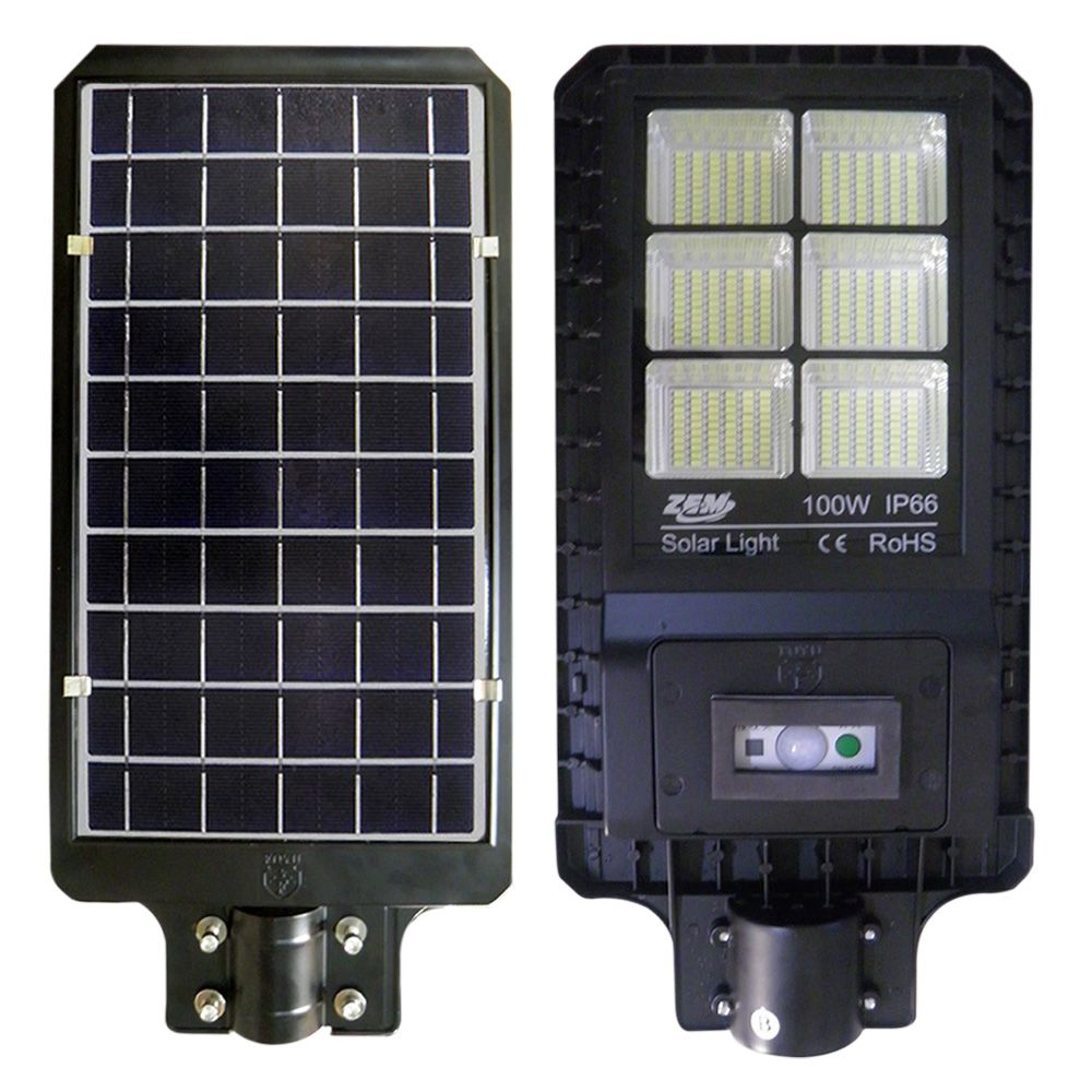 Luminaria 100W Solar Refletor LED Placa Fotovoltaica Poste Luz Sensor Resiste Agua