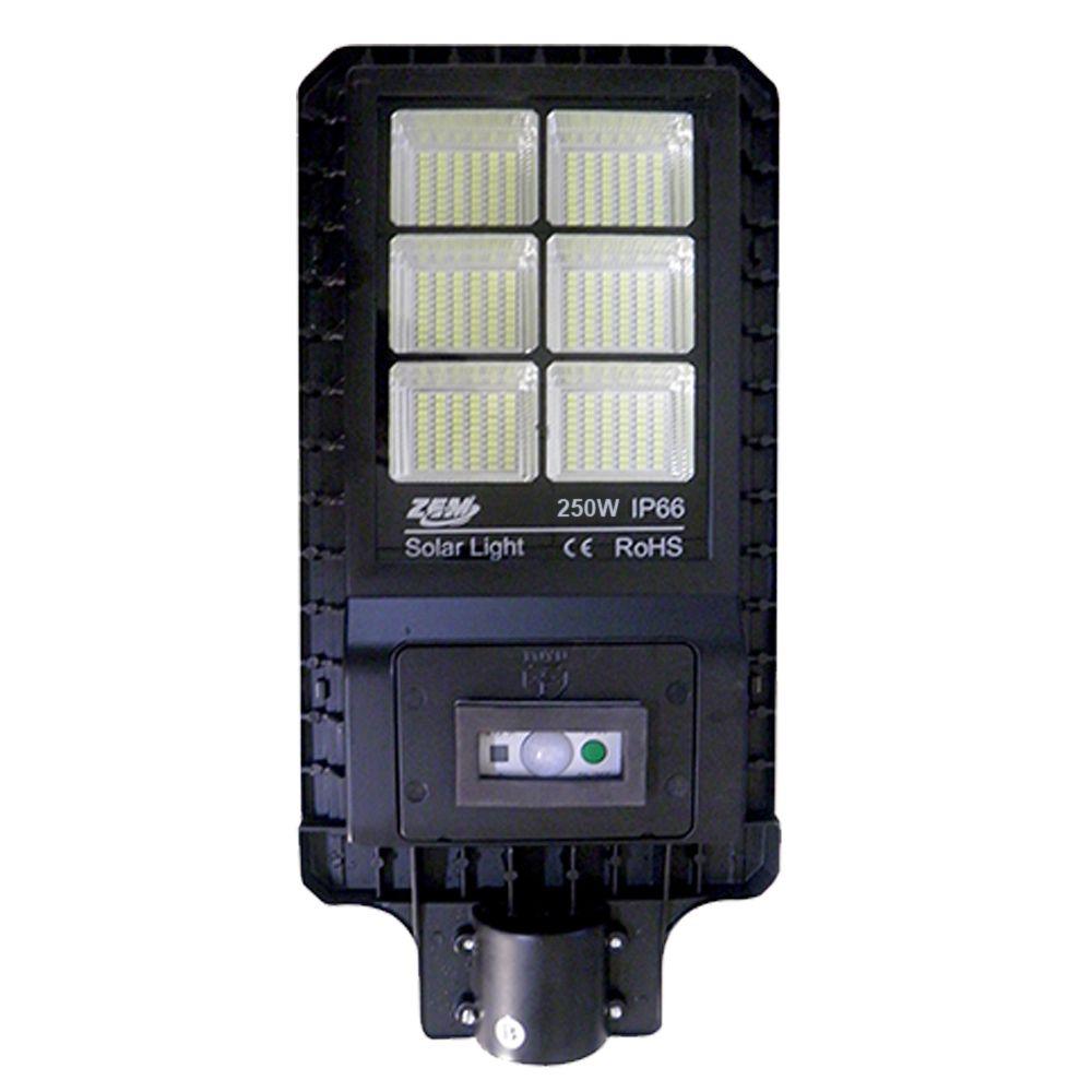 Luminaria 250W Solar Refletor LED Placa Fotovoltaica Poste Sensor Presença Resiste Agua