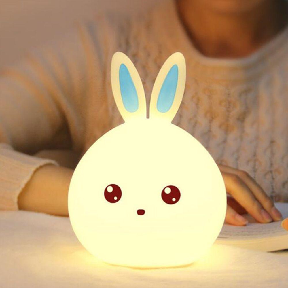 Luminaria Abajur Coelho LED Silicone Touch Recarregavel Cores Criança