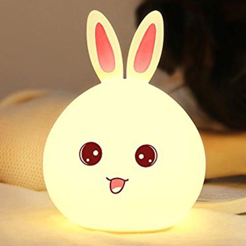Luminaria Coelho LED Silicone Abajur Touch Cores Recarregavel Criança