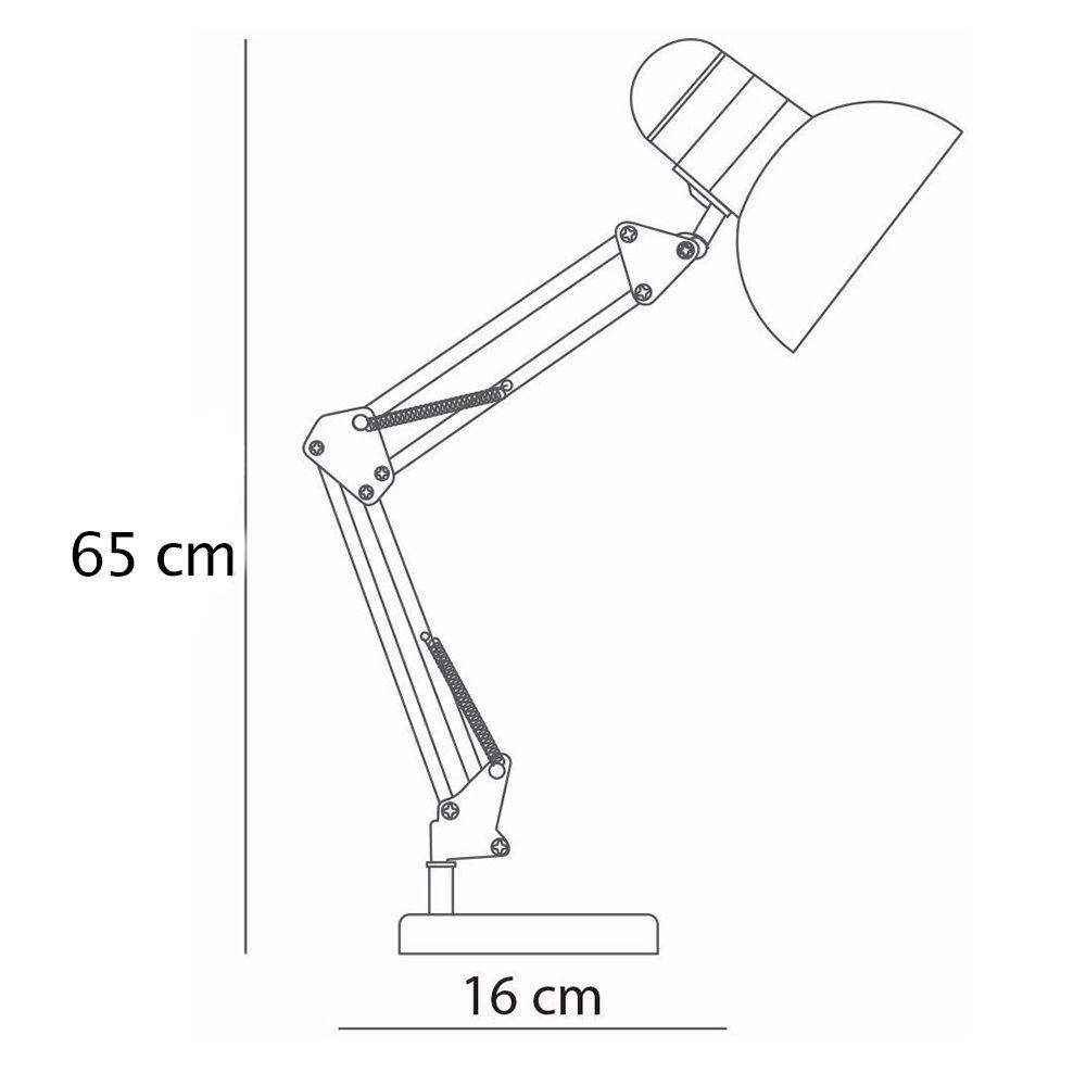 Luminaria de Mesa Articulada Escritorio regulavel Leitura Base metal Articulavel Branca