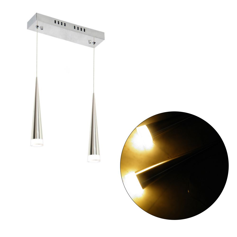 Luminaria Pendente Prateado LED Branco Quente 3000k Cromado 12W