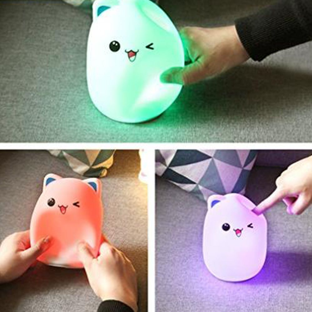 Luminaria Silicone Abajur LED Sensor Touch Colorido Recarregavel Criança Azul