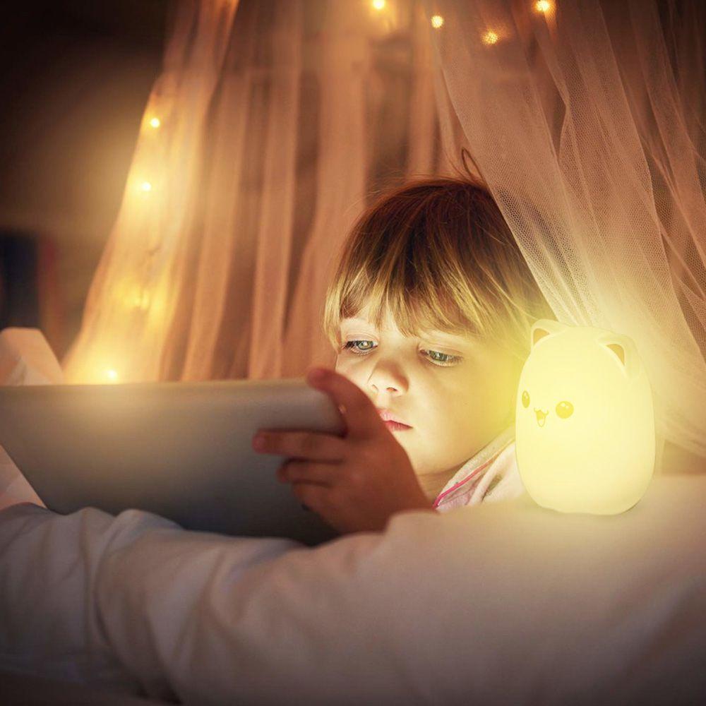 Luminaria Silicone LED Abajur Sensor Criança Rosa Touch Colorido Recarregavel