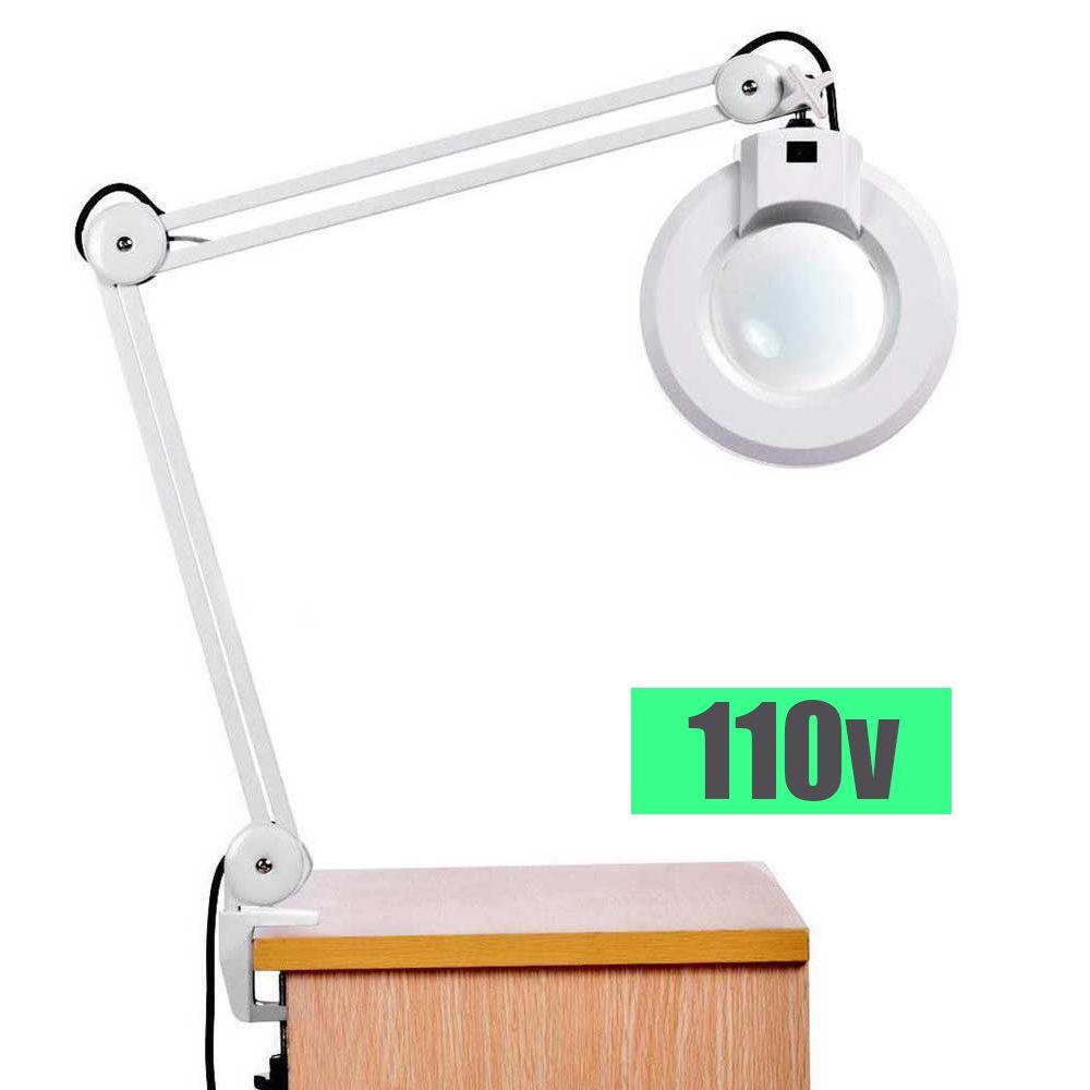 Lupa Luminaria LED Estetica Articulavel Vidro Aumento 110v Giratorio