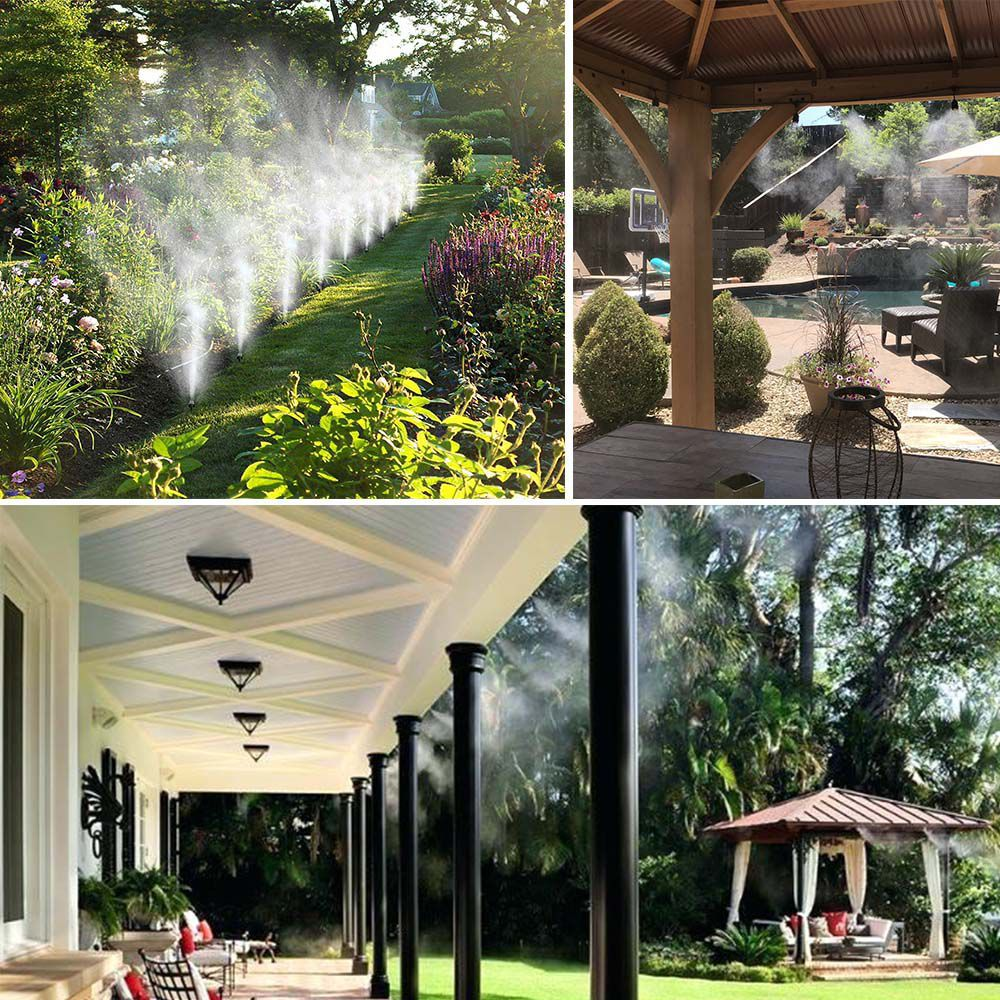 Mangueira Climatizadora Kit 5 UNI Sistema Irrigacao Nevoa Quintal Grama 10M Jardim