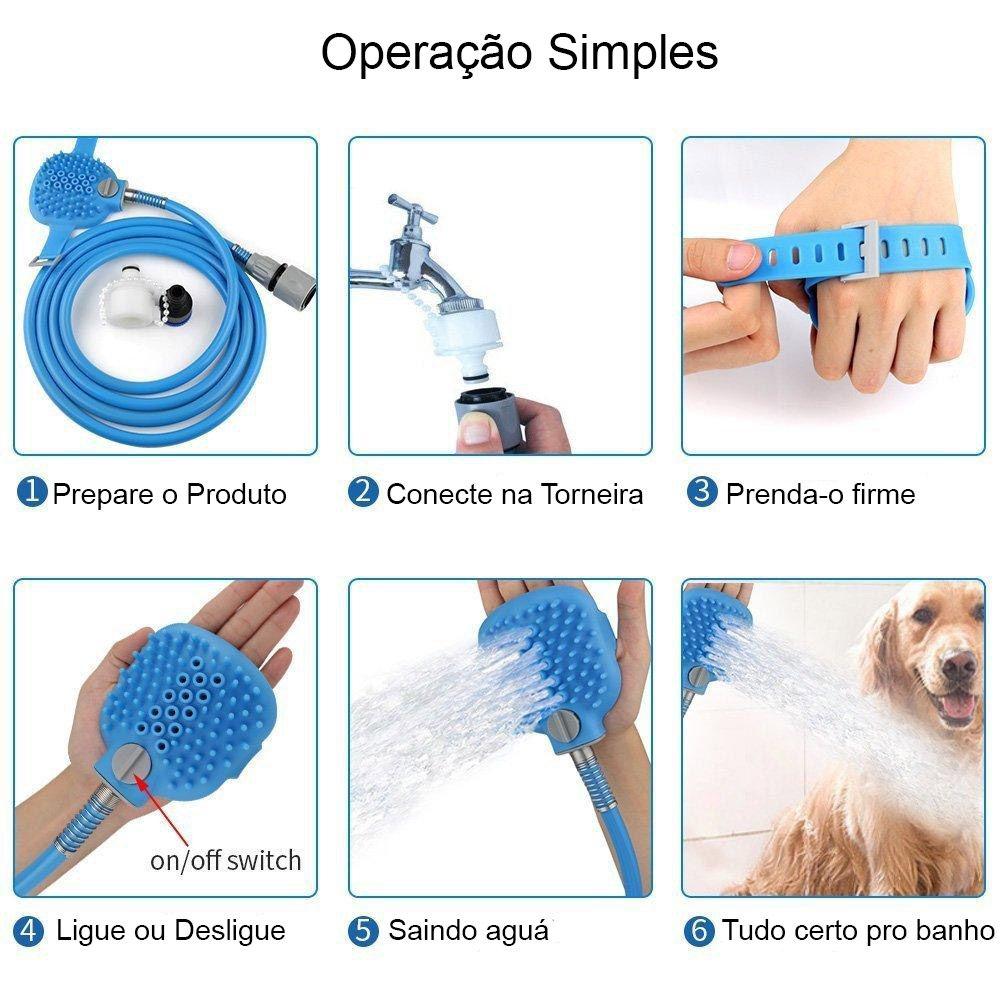 Mangueira Luva Cachorro Caes Banho Pet Shop Massageadora