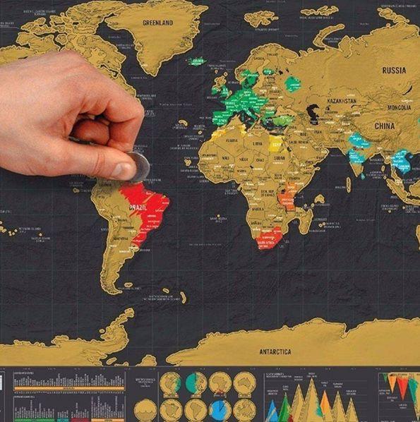 Mapa Mundi Raspar Viagens Raspadinha Scratch Map 80x60 Quadro