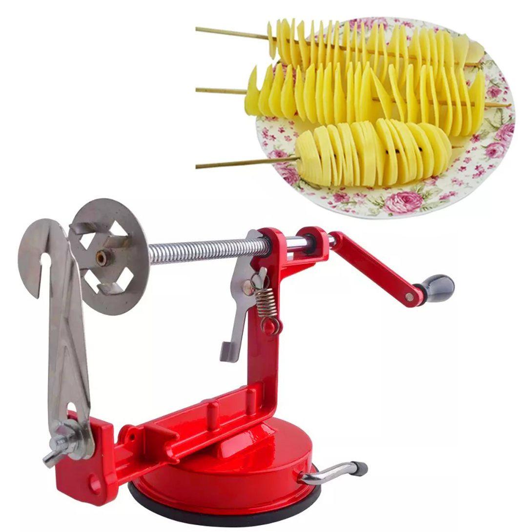 Maquina de Cortar Batata Espiral Fatiador Chips Frutas Legumes