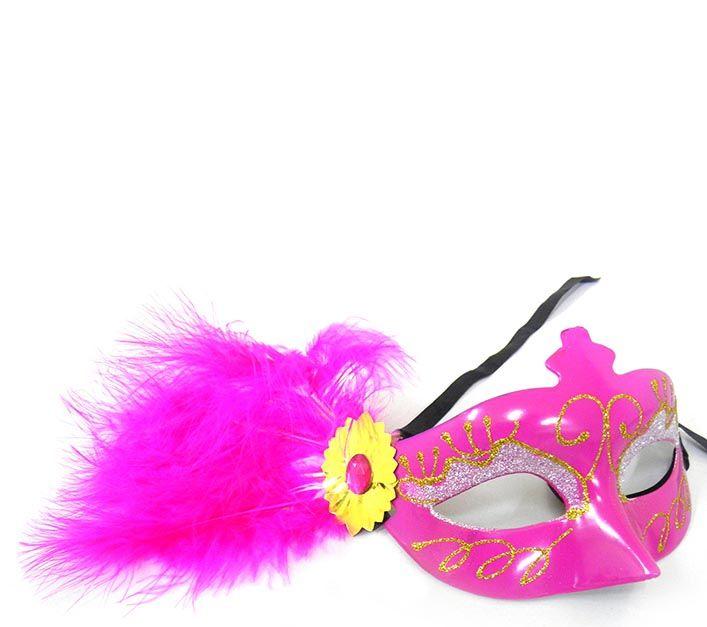Mascara De Carnaval Kit 10 Unidades Fantasia Luxo Gala Festa Evento Rosa (6151-21)