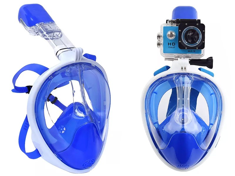 Máscara de Mergulho Full Face Snorkel Anti Embaçamento Suporte Gopro Azul G/GG (BSL-XST-2)