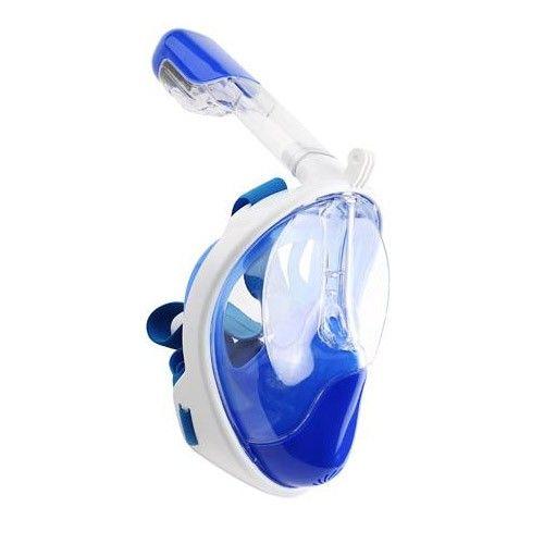 Mascara de Mergulho Full Face Snorkel Anti Embaçamento Suporte Gopro Azul P/M (xst-2)