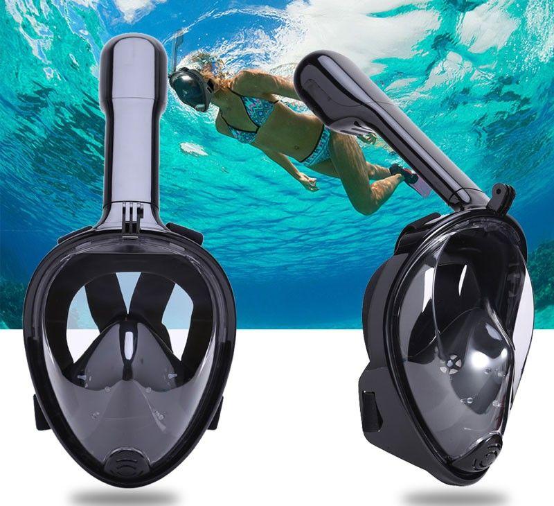 Mascara de Mergulho Full Face Snorkel Anti Embaçamento Suporte Gopro Preto P/M (BSL-XST-2)