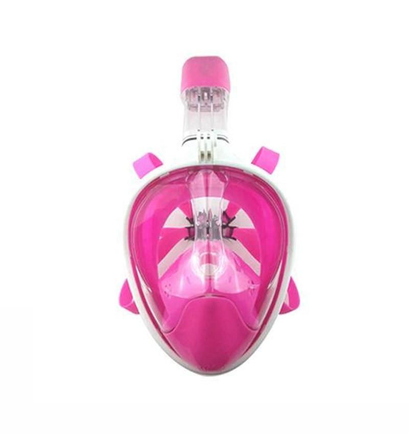 Máscara de Mergulho Full Face Snorkel Anti Embaçamento Suporte Gopro Rosa G/GG