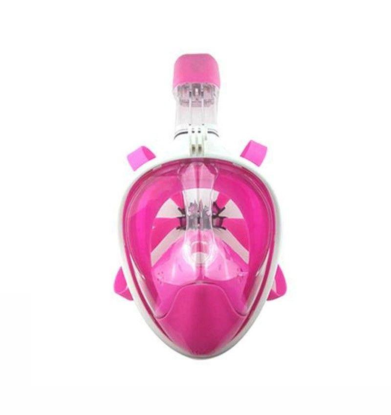 Mascara de Mergulho Full Face Snorkel Anti Embaçamento Suporte Gopro Rosa P/M