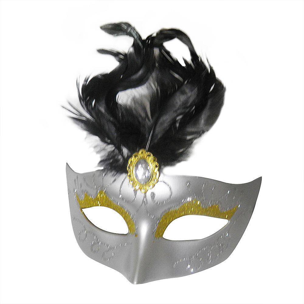 Mascara Fantasia Carnaval kit com 6 unidades Cinza Festa Eventos