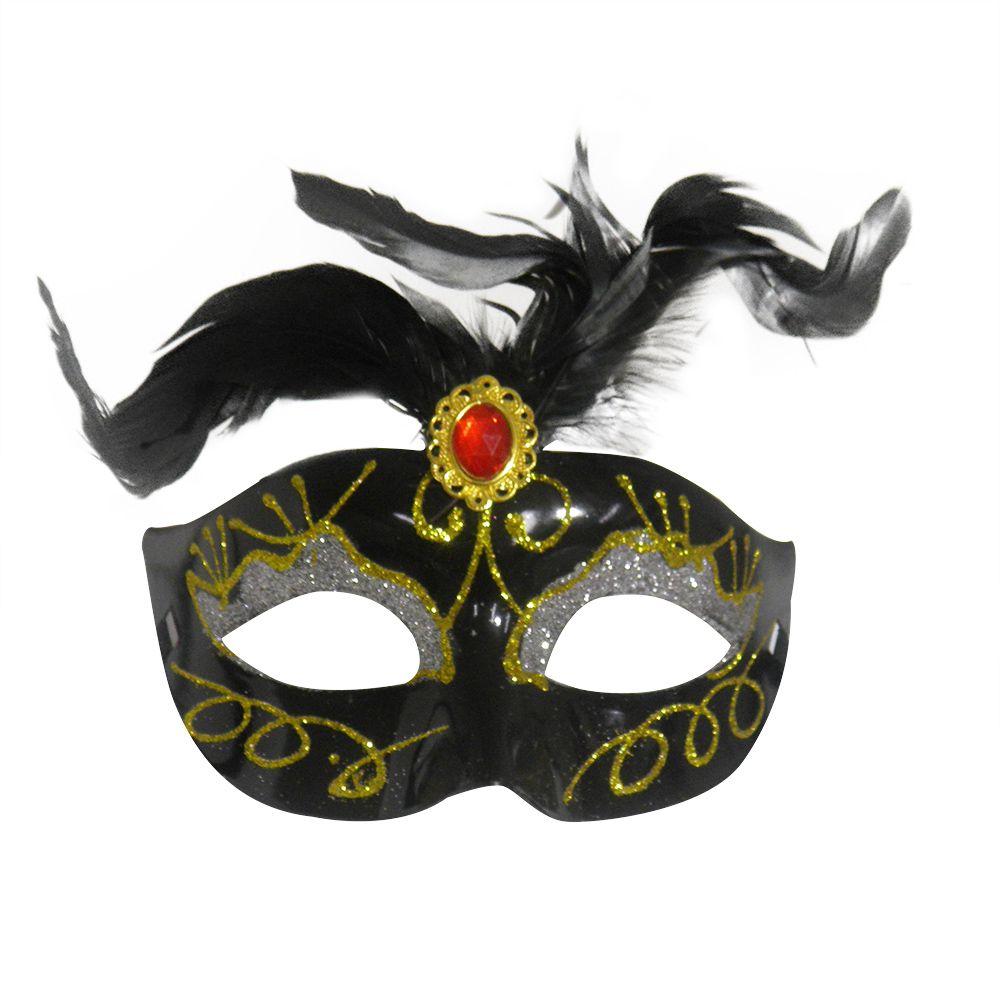 Mascara Fantasia Carnaval kit com 6 unidades Preto Festa Eventos