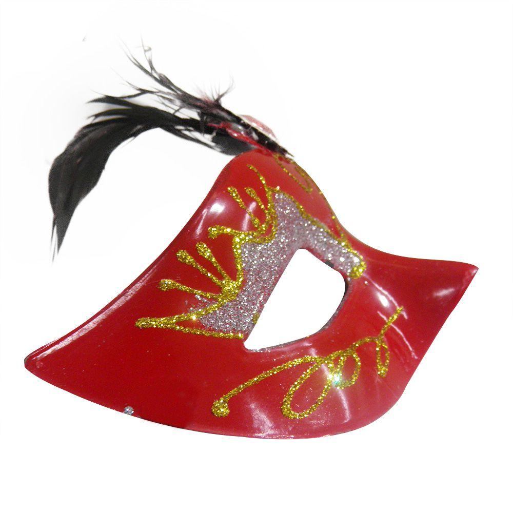 Mascara Fantasia Carnaval kit com 6 unidades Vermelho Eventos Festa