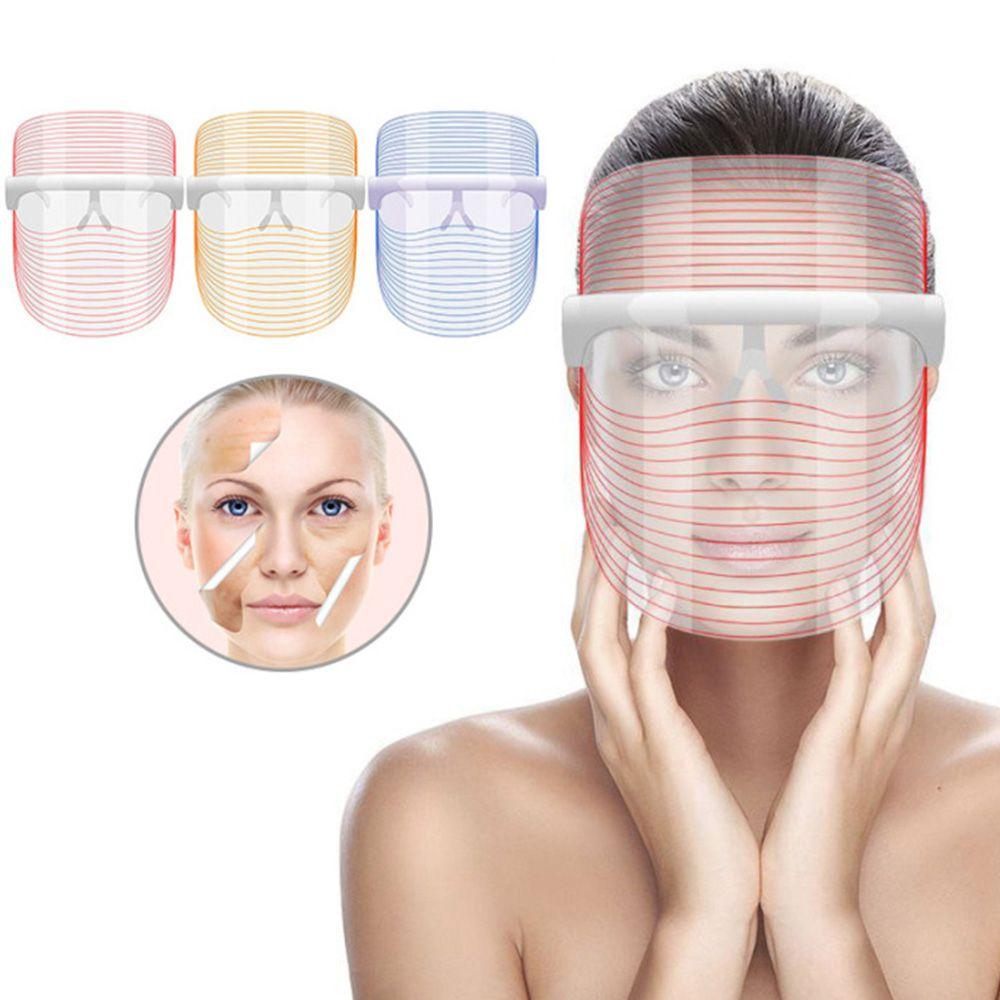 Mascara Tratamento SPA Facial LED 3 Cores Luz Foton Iluminacao Acne Anti Ruga