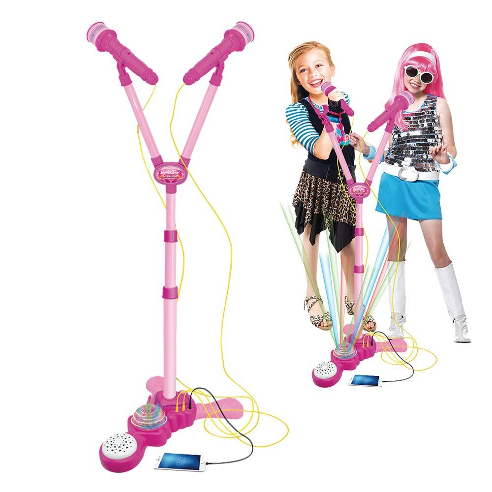 Microfone Infantil Karaoke Duplo Amplificador Pedestal Musical Rosa (DMT5048)