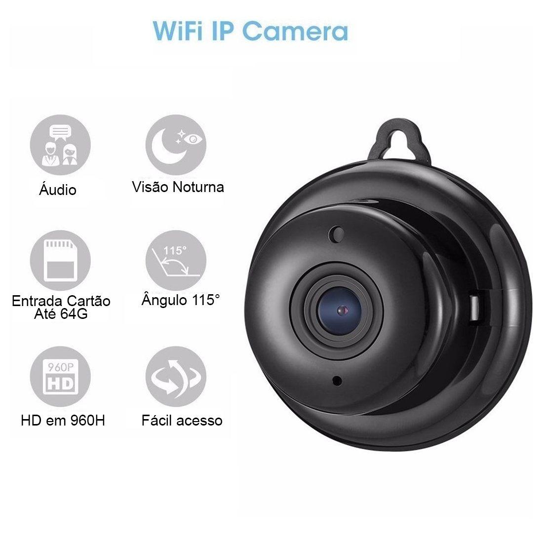 Mini Câmera Ip Wifi Celular Detecção Movimento Grava Audio Visão Noturna