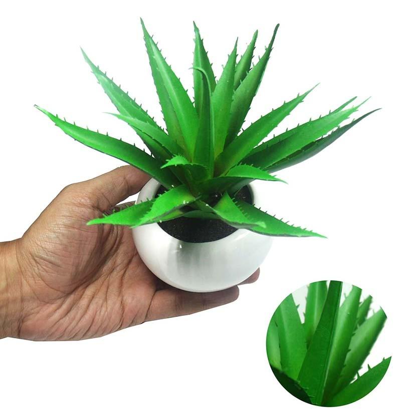 Suculenta Planta Artificial Com Vaso Branco Cacto Decoracao Festa Jardim Verde