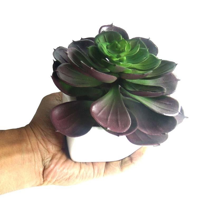 Suculenta Planta Artificial Com Vaso Branco Decoracao Festa Jardim Tons Vermelho (SH-2 MOD2)