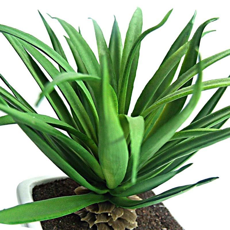 Suculenta Planta Artificial Com Vaso Branco Decoracao Festa Jardim Verde (SH-2 MOD3)