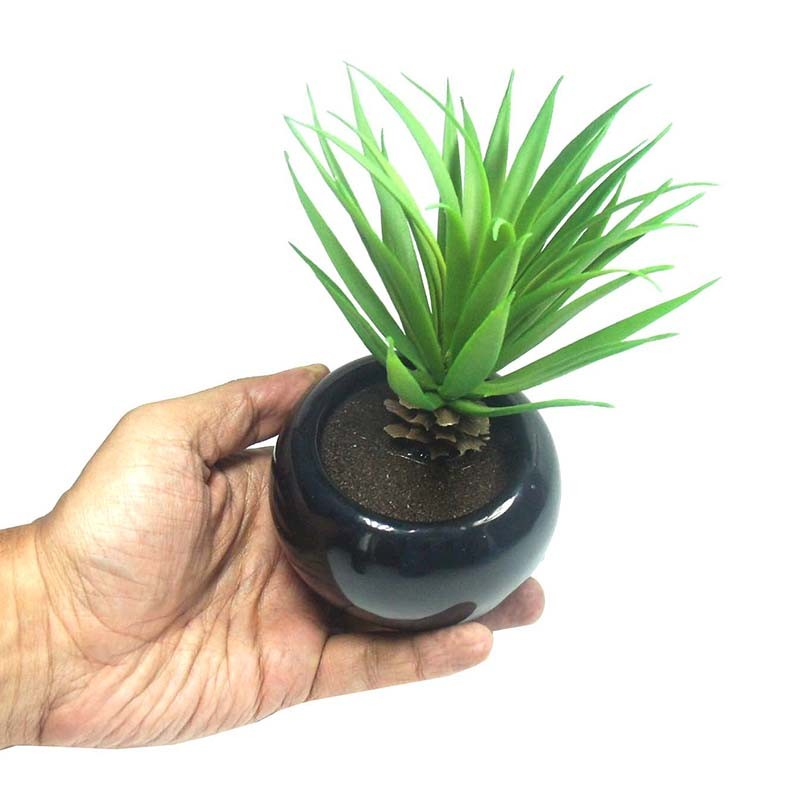 Suculenta Planta Artificial Com Vaso Preto Decoracao Festa Jardim Casa (SH-4 MOD3)