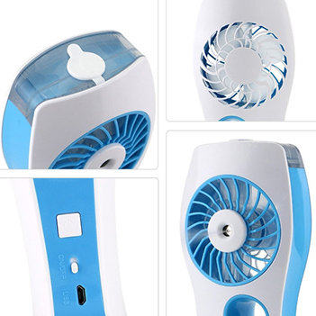 Mini Ventilador Climatizador Umidificador Para Casa Com Bateria Recarregavel Azul Portatil (VEN-2)