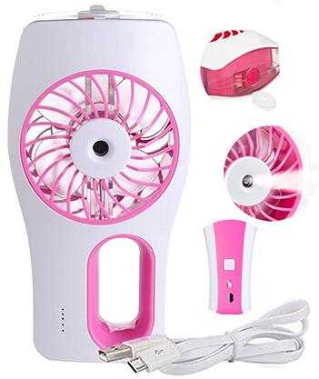 Mini Ventilador Climatizador Umidificador Para Casa Com Bateria Recarregavel Rosa Portatil