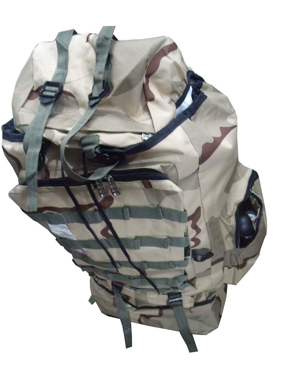 Mochila De Camping Camuflada Militar Impermeavel Para Viagem Trilha Acampamento Carga Grande Bege (BSL-21296-7)