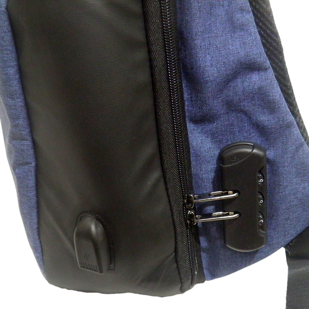 Mochila Usb Anti Roubo Furto Com Cadeado Carregador Leptop Azul